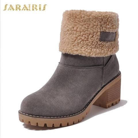 SARAIRIS <b>New</b> Large Sizes 34-43 for cold winter <b>snow Boots</b> ...