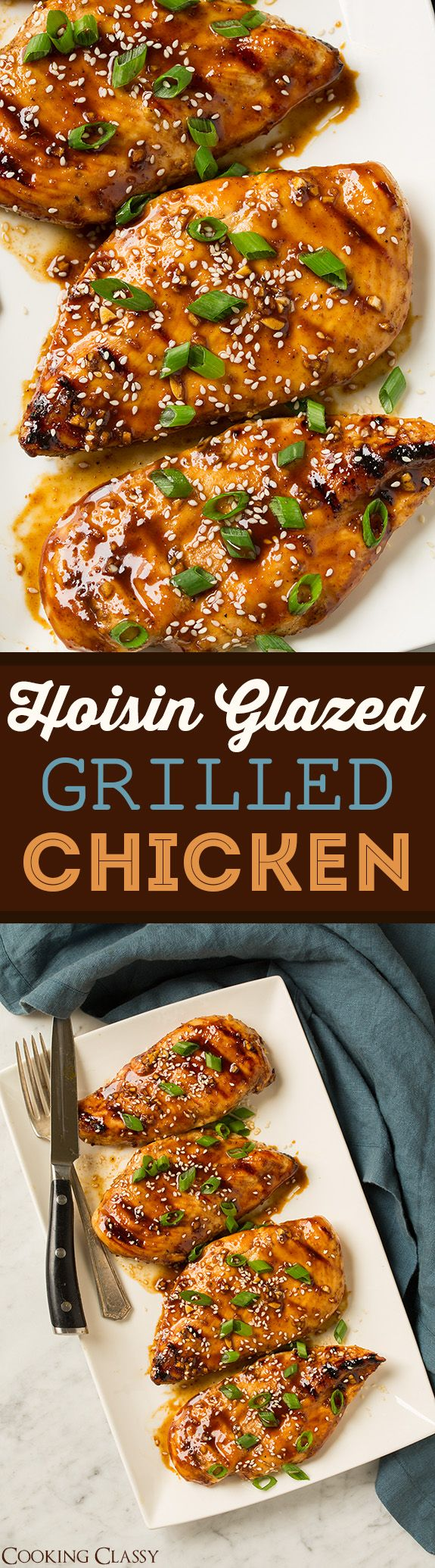 Hoisin Glazed Grilled Chicken - quick, easy, flavorful Asian Chicken! Perfect for weeknight summer cookouts!
