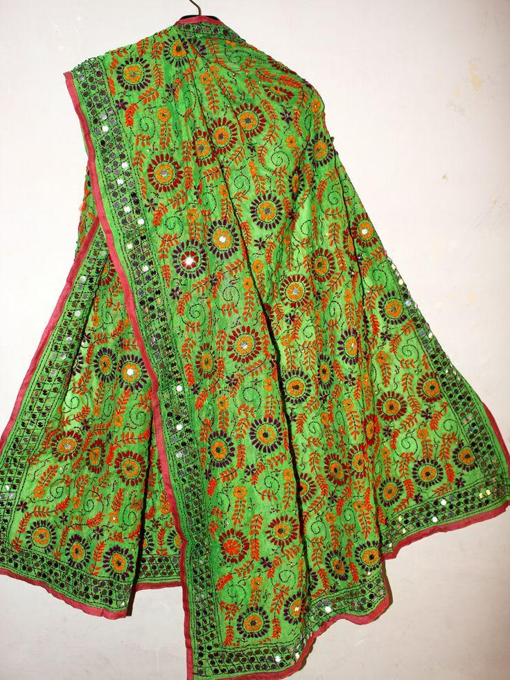 Multicolor Fulkari Handembroidered, Green Chanderi Dupatta. Handembroidered Pink chanderi phulkari dupatta #phulkari #phulkaridupatta #fulkari #dupatta #greenphulkaridupatta #handembroideredfulkari #Shilphaat.com
