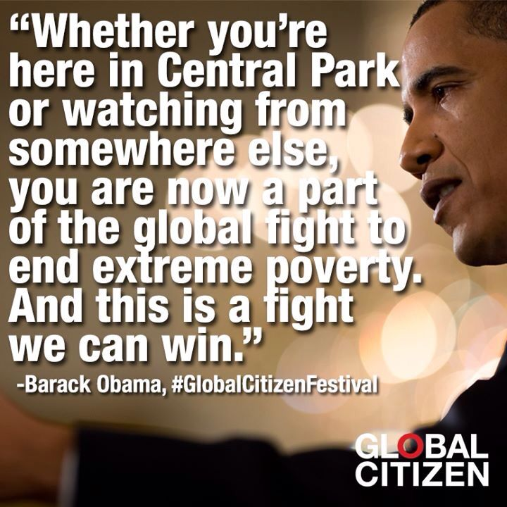 Global Citizen Festival 2014...in the words of The President Of The United States . #GlobalPovertyProject