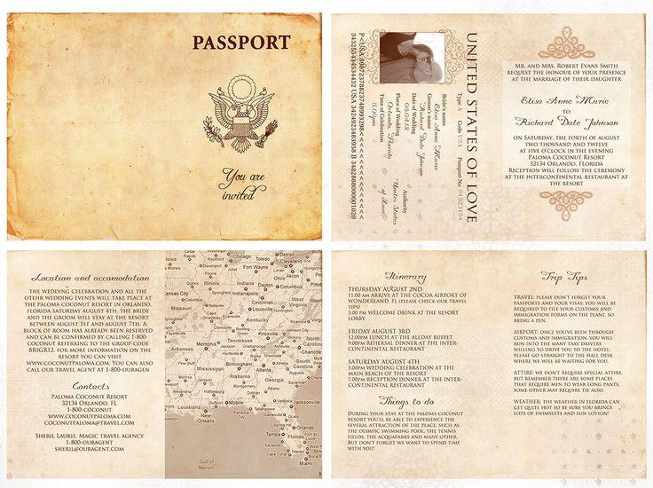 60 best claudia images on pinterest passport template for Passport wedding program template