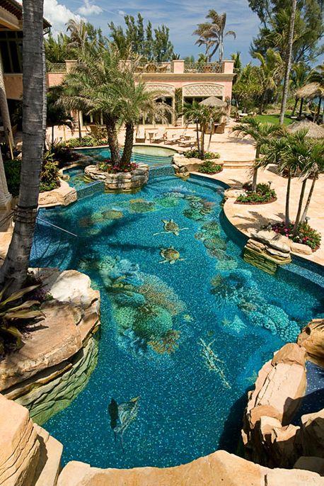 "Amazing ""ocean"" pool. #pools #swimmingpools #swimmingpool #luxurypool #swimming #pool #summer #fun #backyard #exteriors #homedecor #homedesign #architecture #lighting #outdoors #familytime www.gmichaelsalon.com #greatoutdoors #backyard #hottub #sauna"