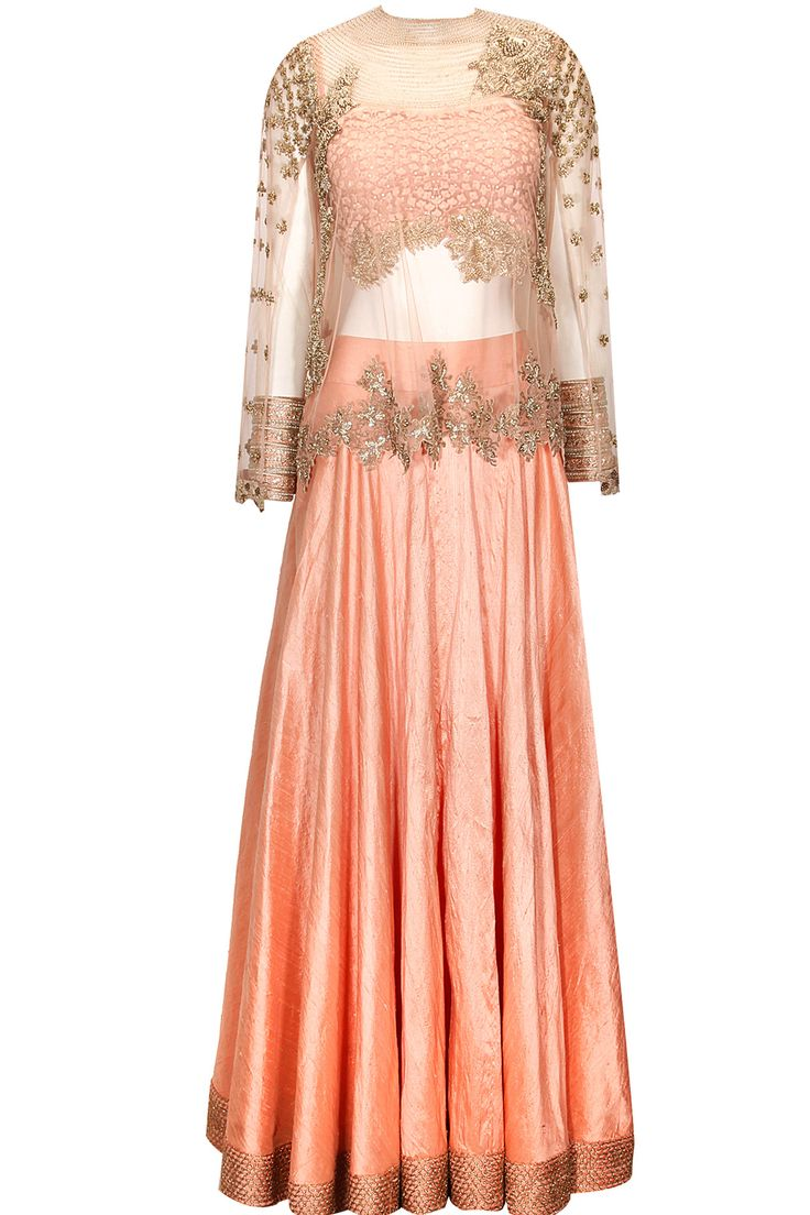Peach lehenga with embellished cape available only at Pernia's Pop-up Shop