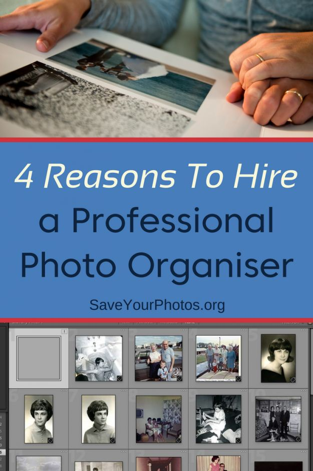 You want more organized photos but can't quite get it done. It's time to hire a professional photo organizer. #saveyourphotos