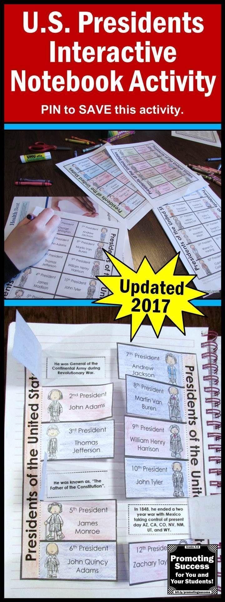 Presidents Day U.S. History Interactive Notebook Social Studies Activity