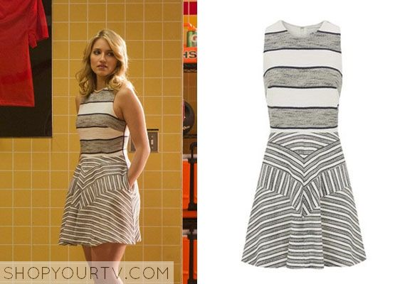 Quinn Fabray (Dianna Agron) wears this sleeveless dress with horizontal stripes across the fitted bodice and a strategic chevron pattern det...