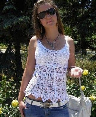 Beautiful white top with pineapple motifs .. Chart only!