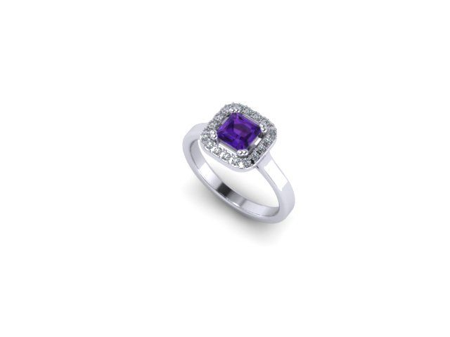 Colour Collection - Amethyst, diamond and White Gold Ring