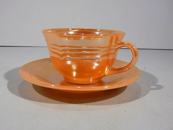 Vintage Fire King Peach Luster Cup and Saucer - Goodwill Donation