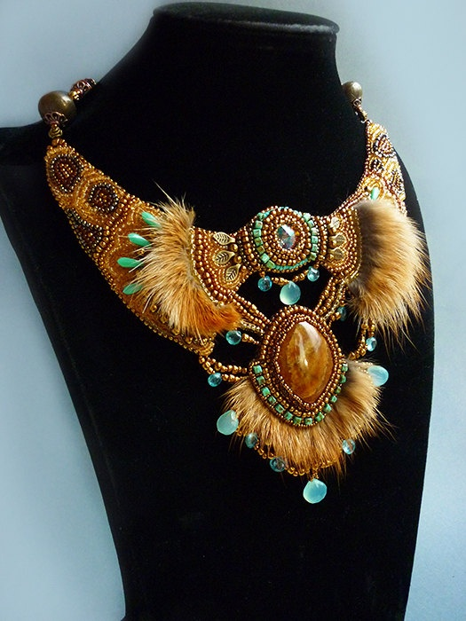 "Necklace ""Sophie"" - Necklace Bead Embroidery Art with fox fur,. $288.00, via Etsy."