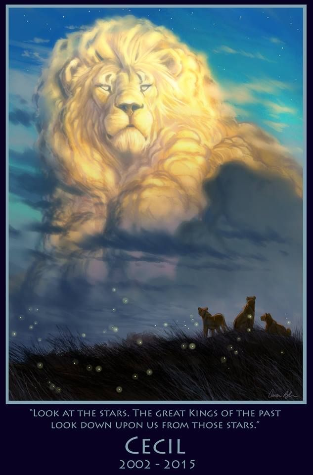 """Cecil the Lion: Aaron Blaise, an animator who worked on """"Lion King,"""" """"Aladdin,"""" and """"Beauty and the Beast"""", is an animal lover who, touched by the lion's tragic death, rendered a stunning tribute image of Cecil, which he posted to his website. 100% of the profits from the sale of these images will be donated to WildCRU – the organization that was studying and protecting Cecil and his pride."""