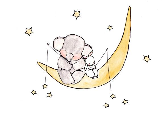 Star Fishing -- archival print, elephant nursery, childrens art, kids room decor, kids wall art, child decor, baby art