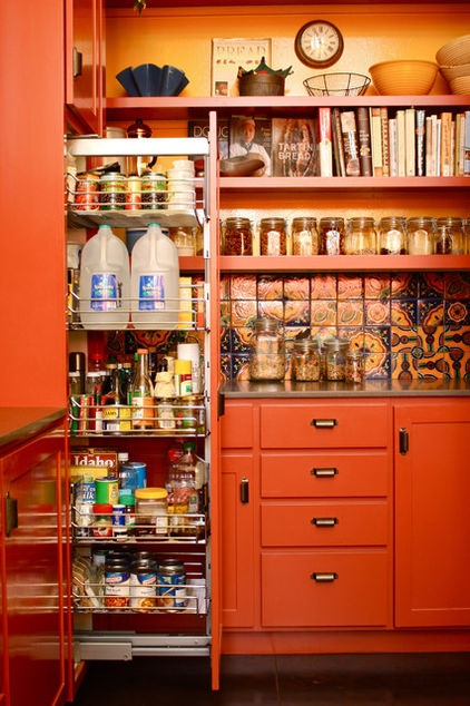 mediterranean kitchen by Shannon Malone    More of this kitchen with tile and shelf/wall paint colors