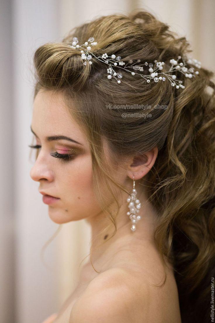 Купить Веточка/веночек с жемчужными и хрустальными бусинами - свадебные аксессуары, свадебные украшения, украшения для прически