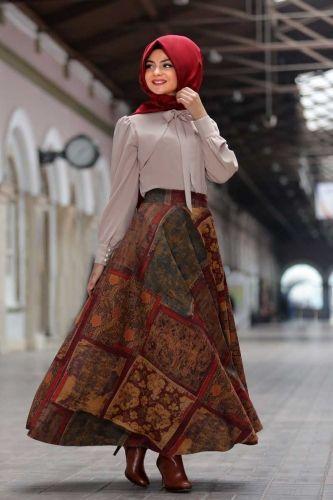 Pınar Şems - Mine Verev Etek Bordo