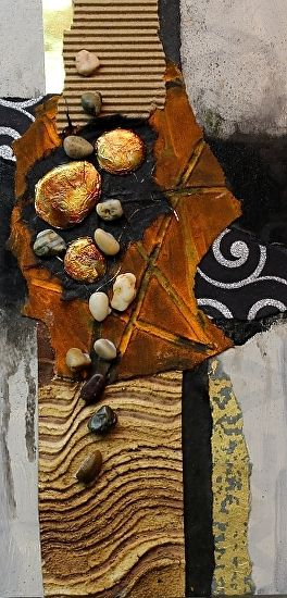 Rustic, 041317 by Carol Nelson mixed media ~ 12 inches x 6 inches