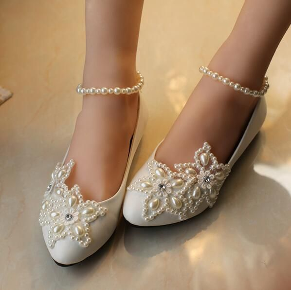 New white flat bridal wedding shoes fashion shoes Beaded Pearl Low heel women's party shoes white lace shoes