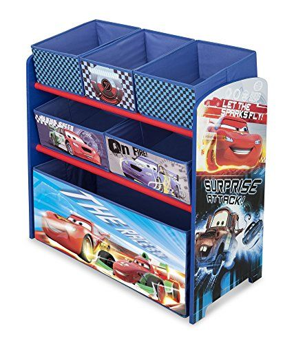 The Charming And Functional Disney Cars Toy Organizer Makes Tidying Up Fun. Each Tier Of The Organizer Serves Its Own Function. The Toy Box Is Perfect For Storing Large Items While The Storage Bins Ar...