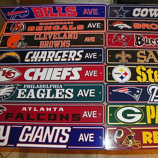 NFL Team Logo Street Sign - All 32 NFL Teams Available