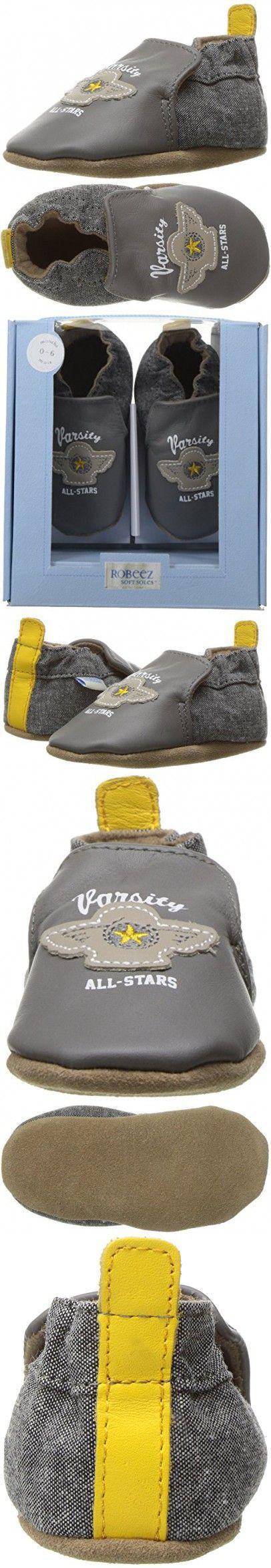 Robeez Boys' Puppy Love Crib Shoe, Varsity Dark Grey, 6-12 Months M US Infant