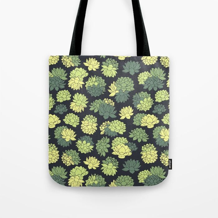 Green Succulents Pattern Tote Bag #faerieshop #tropical #floral #succulents #plants #lotus #pattern #water #lily #flowers #drawing #art #liles #blossom #green #ornament #shopping #society6 #accessories #bags