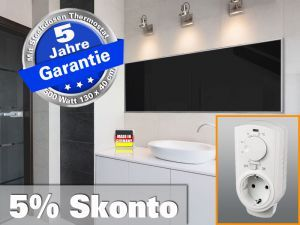 Infrarotheizung mit Thermostat, Heizelement ESG Glas schwarz emailliert, Leistung 500 Watt, recht für Räume bis 12 qm - Format: 130 x 40 cm - Energiesparende infrarot Elektroheizung