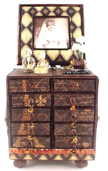 Such an amazing altered Matchbox Dresser using French Country! By Lynn Stevens shared on our Ning site! #graphic45 #ning