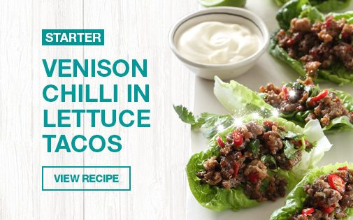 Venison Chilli in Lettuce Tacos