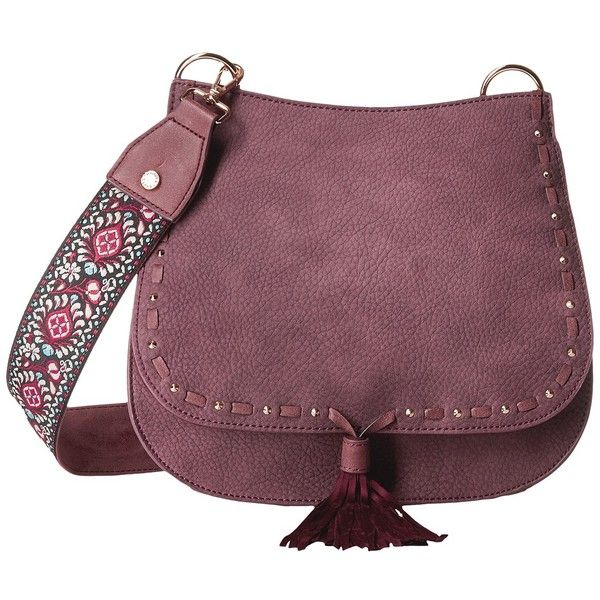 Steve Madden Bswiss Saddle Bag w/ Guitar (Berry) Handbags ($88) ❤ liked on Polyvore featuring bags, handbags, shoulder bags, purple handbags, handbags shoulder bags, tassel purse, flap handbags and purple purse