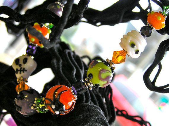 Halloween Jewelry  Monster Mash Bracelet  by knitbeadlove on Etsy, $59.00