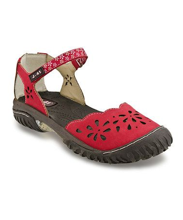 Red Deva Closed-Toe Sandal by J-41 Footwear #zulily #zulilyfinds I've been wanting red shoes for a while, so just ordered these from Zulilly.