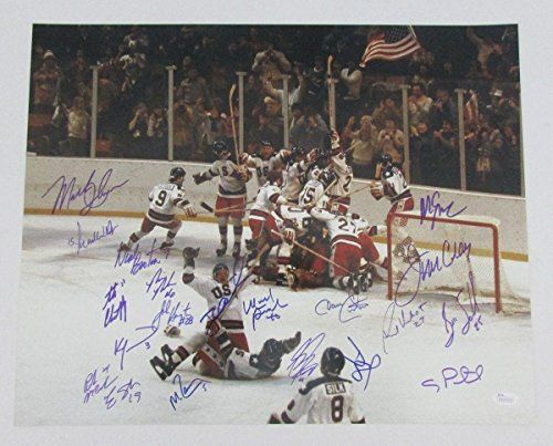 1980 Miracle Team USA Olympic Hockey Signed16x20 20 Signatures JSA WP293939 - Autographed NHL Photos ** Visit the image link more details.