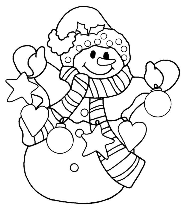 Snowman Christmas Coloring Pages For Kids