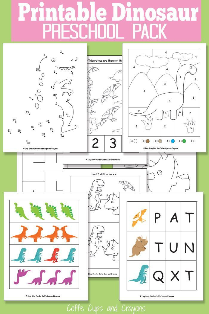 Printable Dinosaur Pack For Preschool Food Family