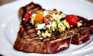 Cristina's Grilled T-Bone Steaks With Greek Salsa