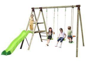 Portique en bois Trigano 2,50 m. + Toboggan 5 enfants  309