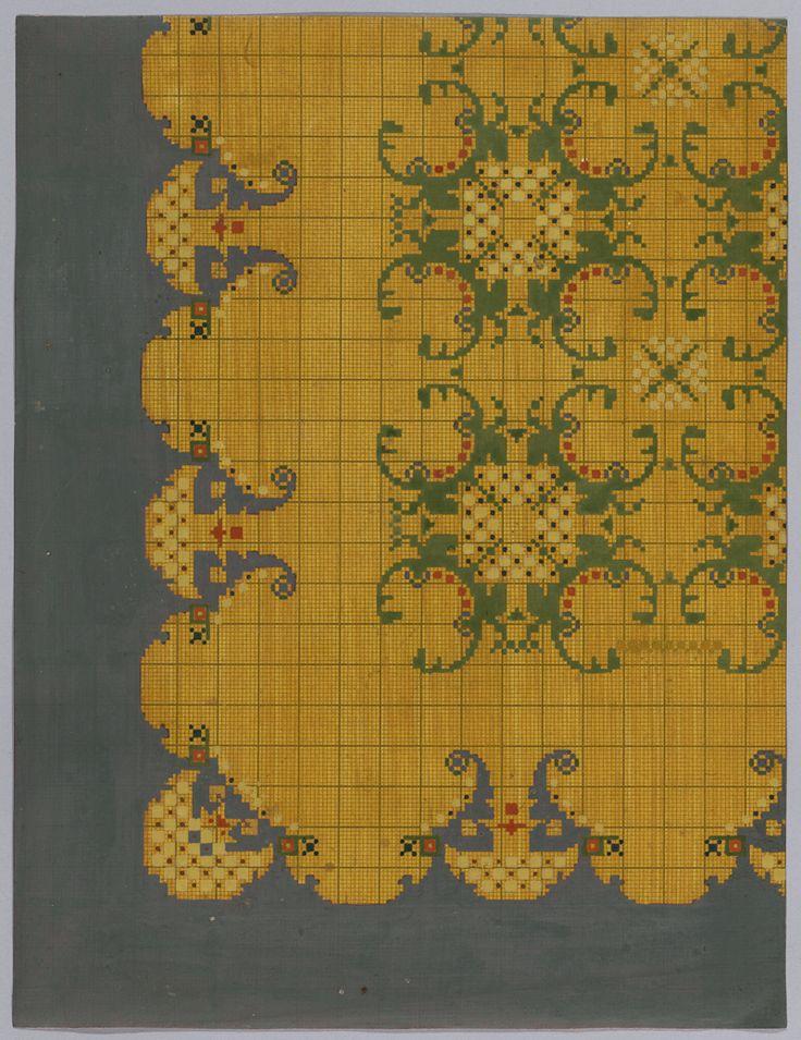 Een reeks van 10 ontwerpen voor tapijt | Kuit, W. (1878-1975) | 1910 / 1919 | Deventer Musea | CC BY-SA