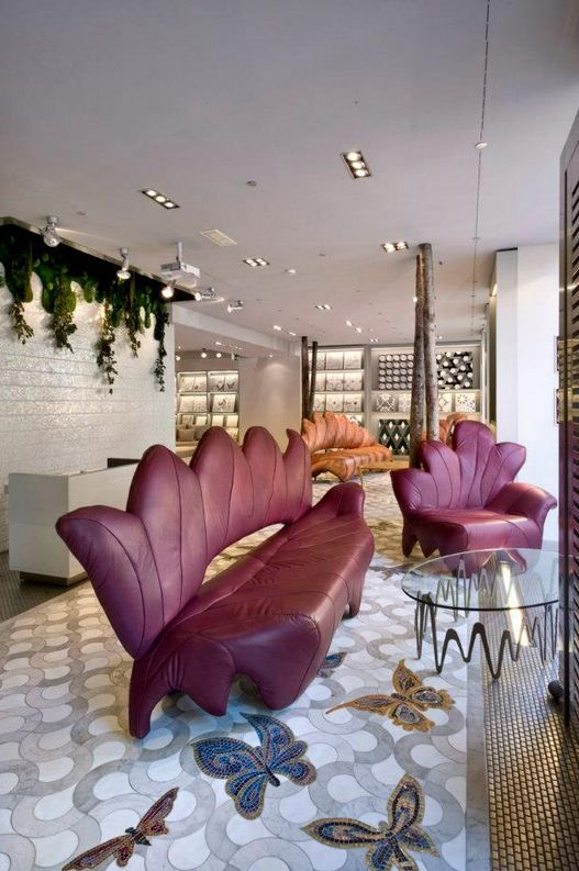 Ground Floor. Magnificent Acero Rosso Set of Sofa and Armchair and Ondine Coffee Table. On a Marble Floor with hand made Butterflies... #SICIS #Showroom #Milan #mosaic #Art