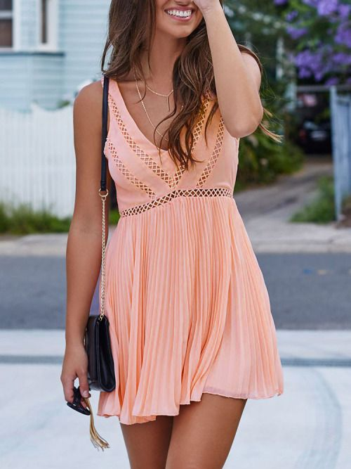 "the-fashion-alba: "" Pink Sleeveless Cut Out Back Pleated Dress """