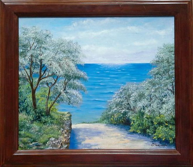 """Landscape Oil painting, oil on canvas, Handmade art """"Down to the sea""""."""