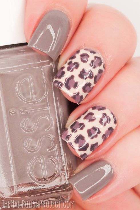 Muted Leopard Print Nail Art