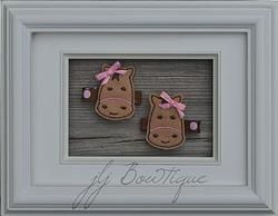 Brown  & Pink Horse Hair Clips  - hc042 -$5.00 for pair available on jLj Bowtique