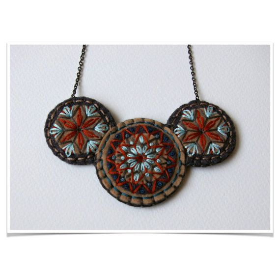 Wool Felt Statement Necklace ø Hand Embroidered ø LoftFullOfGoodies