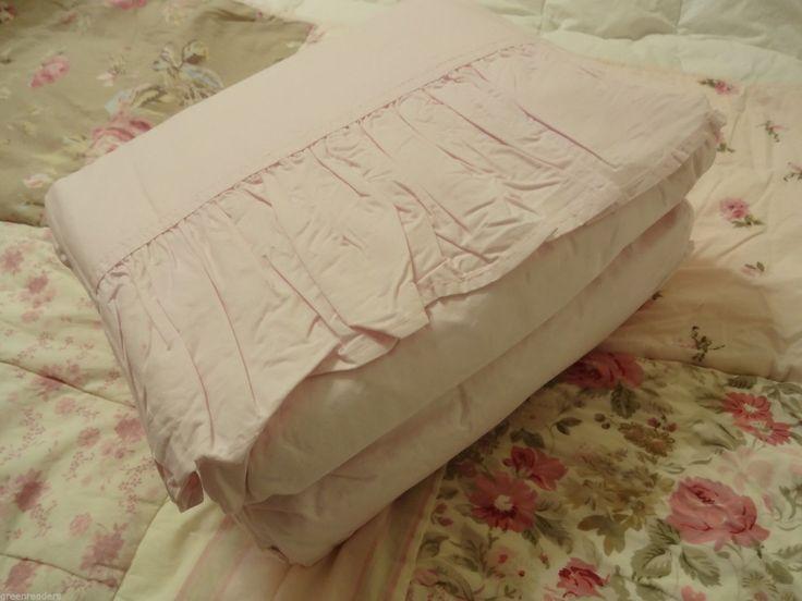 rachel ashwell simply shabby chic pink vtg ruffle king sheet set rare htfnip