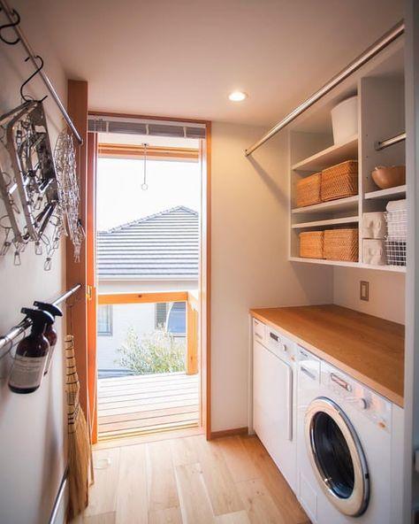 自邸の室内洗濯スペース。 家事をストレスフリーにしたい….