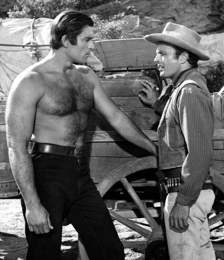 Clint Walker early hollywood brawn; shirt off often on the set of Cheyenne. From My Collection!