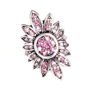 Pierścionek Vintage z Różowymi Kryształkami Kwiat #ring #vintage #pierscionek