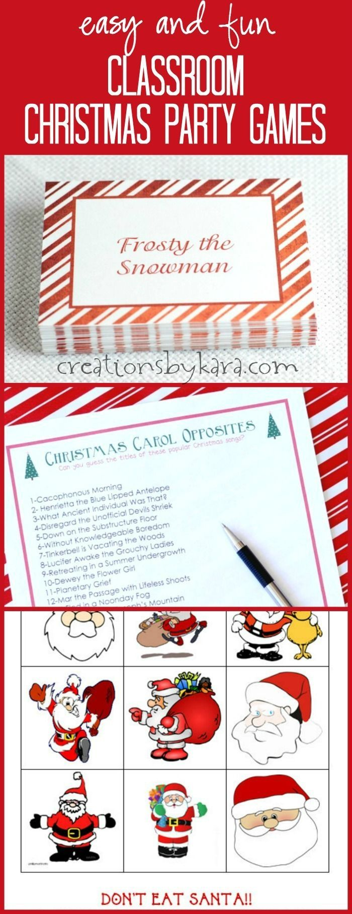 Christmas games to use at Christmas classroom parties. Includes a free printable game