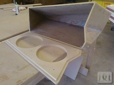 Fiberglass Sub Enclosure we built for 2010 malibu wakesetter for a pair of exile 12 big 12 subs.