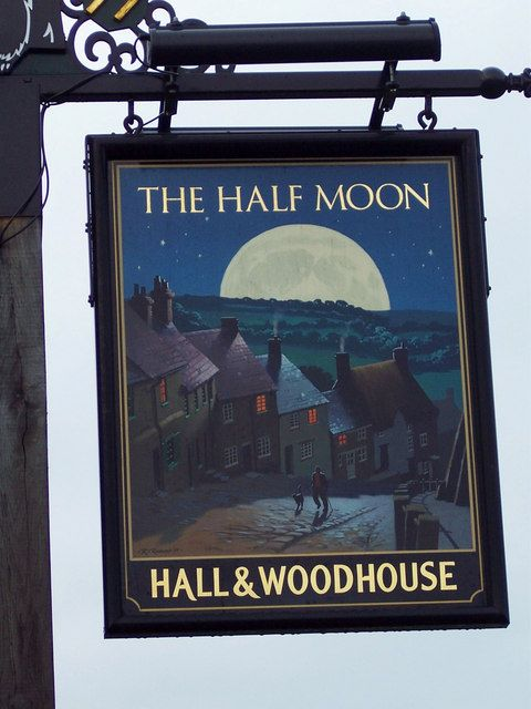 The Half Moon Pub Sign -   Shaftesbury, Dorset, UK